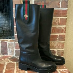🔥Like New🔥 Gucci Mary Bee Riding Knee High Boots